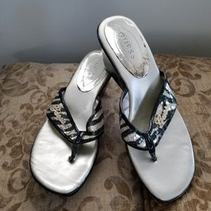 Beautiful Sequin Guess Wedge Sandals Zebra Print 8